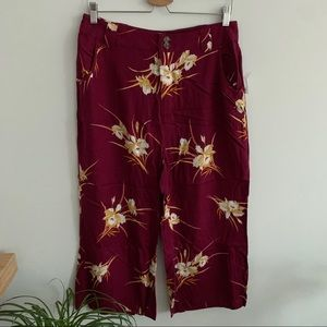 NWT ModCloth-Red Crop Pants Floral Print